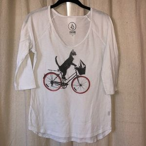 Cat on Bicycle Volcom 3/4 Sleeve Shirt